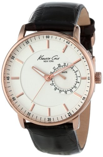 Kenneth Cole New York Men's KC1780 Rose Gold Analog Display Dark BrownLeather Watch