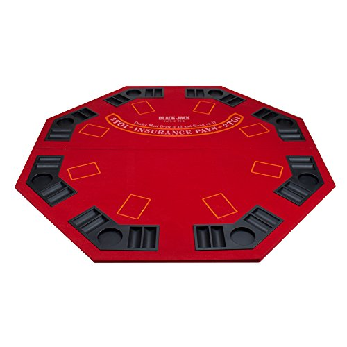 2 in 1 Red Table Top with Carrying Bag: Poker/Blackjack -