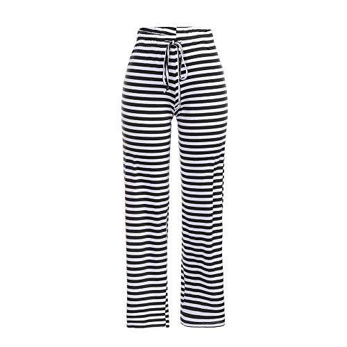 Yoga Casual Pantalone Sciolto da Pantaloni Alta Pantaloni Donna Strisce Nero Elastico A Topgrowth Vita Danza A Larghi Fitness ZaOqOzCw