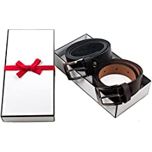 "CLASSIC GENUINE LEATHER BELTS FOR MEN | PREMIUM MEN'S DRESS BELT | 2"" METAL BUCKLE 
