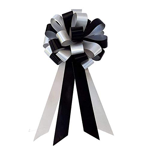 Black & Silver Wedding Pull Bows with Tails for Church Pews and Chairs - 8