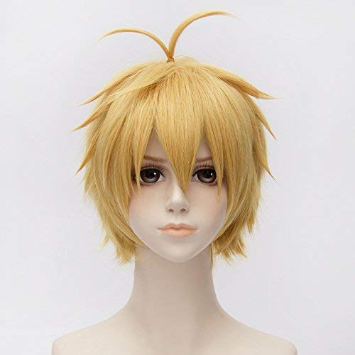 Wrath Costumes Hair - PLUSKER 30cm/11.8inch Short Golden Yellow Layered Fluffy Wig for Dragon's Sin of