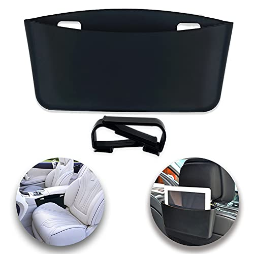Car Seat Side Pocket with 2 back hooks, Seat Gap Filler Multifunctional Car Storage Box Organizer (Black)