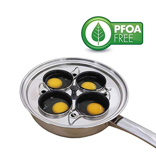 Egg Poacher Pan - Stainless Steel Poached Egg Cooker - Perfect Poached Egg Maker - Induction Cooktop Egg Poachers Cookware Set with 4 Nonstick Large Silicone Egg Poacher Cups