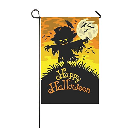WBSNDB Home Decorative Outdoor Double Sided Happy Halloween Sign Scarecrow Garden Flag,House Yard Flag,Garden Yard Decorations,Seasonal Welcome Outdoor Flag 12 X 18 Inch Spring Summer Gift ()