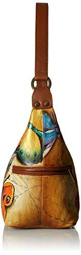 Anuschka handbemalte Ledertasche, Mode Schultertasche für Damen, Handgefertigte Taschen für Frauen, Hobo Umhängetasche mit Reißverschluss (Earth Song Schmetterling 510 EST)