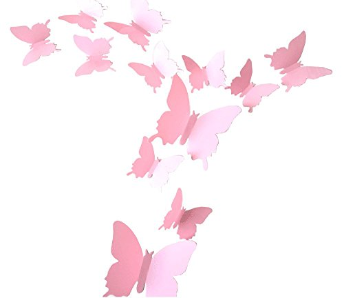 CuteProduct 12Pcs 3d Butterfly Removable Wall Decals Diy Home Decorations Art Decor Wall Stickers Murals for Babys Kids Bedroom Living Room Classroom Office(Color Pink)