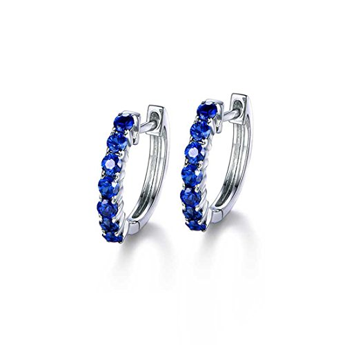 (Carleen 14k Solid White Gold Round Cut Blue Natural Sapphire Hinged Huggie Hoop Earrings Dainty Delicate Fine Jewelry For Women Girls)