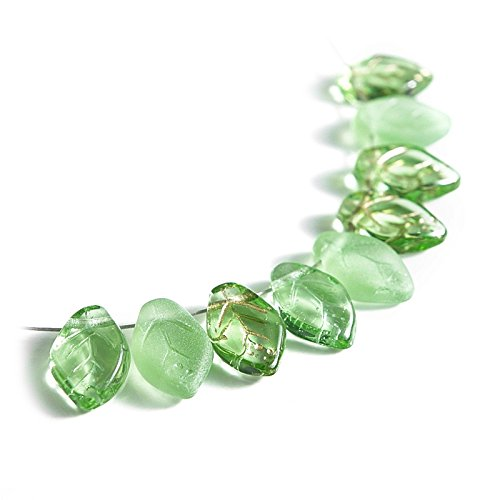 - 50 Mix of Green Czech Glass Leaf Beads 12mm