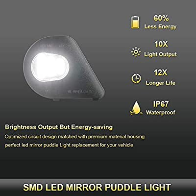 Gempro 2Pcs LED Side Mirror Puddle Light Lamp Assembly For 2010-2020 Dodge Ram 1500 2500 3500 4500 5500, 6000K Diamond White: Automotive