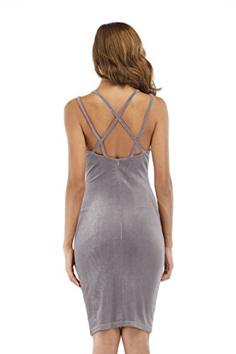 Club Bandage Dress Sleeveless Velvet Carprinass Light Bodycon Midi Gray Women's Dress nqxxYC1B