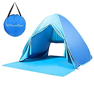 Pop Up Tent Beach Sun Shelter Portable UV Protection Shade Cabana for Outdoor (Blue)