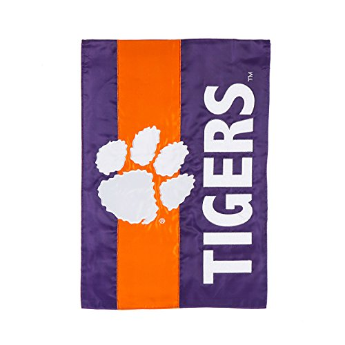 Clemson University Garden - Team Sports America Clemson University Outdoor Safe Double-Sided Embroidered Logo Applique Garden Flag, 12.5 x 18 inches
