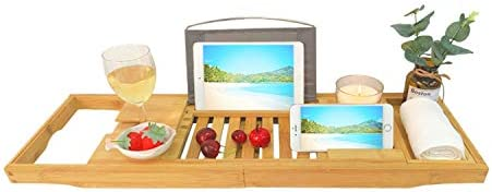 Bamboo Luxury Bathtub Caddy Tray - Expandable Bathtub Caddy with Reading Rack or Tablet Holder, Including a Wine Glass Holder