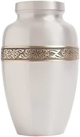 Funeral Urn by Liliane - Cremation Urn for Human Ashes - Hand Made in Brass and Hand Engraved - Fits the Cremated Remains of Adults as Well as the ashes of dogs, cats or other pets
