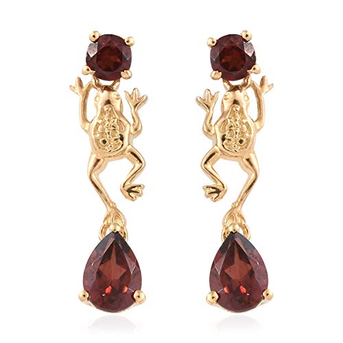 (Garnet ION Plated 18K Yellow Gold Frog Fashion Dangle Drop Earrings for Women Cttw 1.9)
