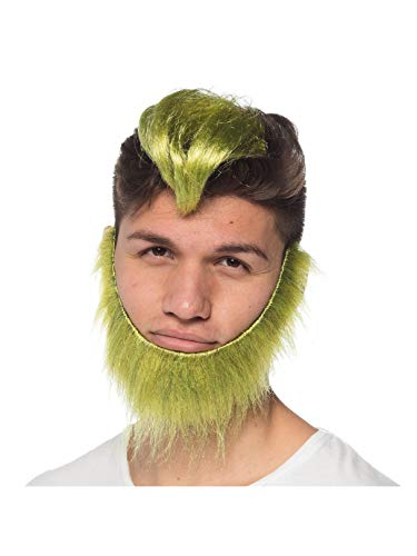 (Green Guy Clip on Wig & Beard Set Adult Halloween)