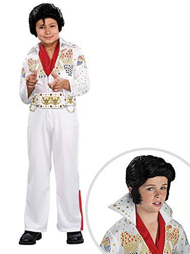 Elvis Deluxe Jumpsuit - Elvis Costume Kit Deluxe Kids Medium With Wig
