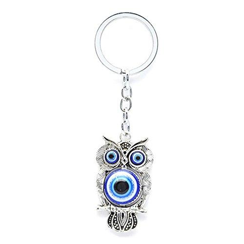 Muzuri Feng Shui Talisman Nazar Owl Blue Evil Eye Key Ring/Key Chain for Protection + Free Handmade Luck Red String Bracelet - Evil Eye Talisman