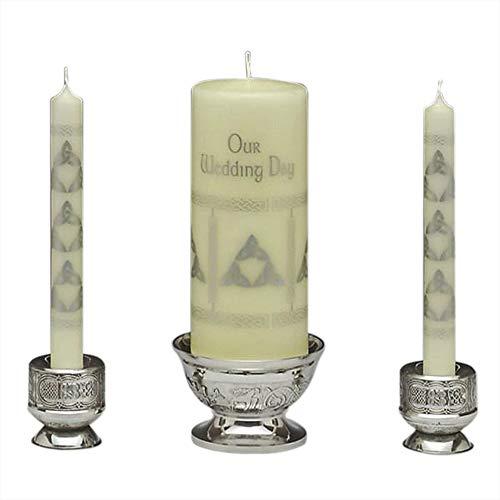 Claddagh Unity Candle Set - Mullingar Pewter Unity Candleholder - Celtic Design