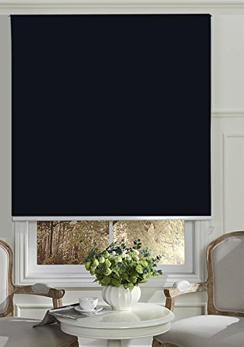 Beryhome Cristal Blackout Room Darkening Roller Shades/Blinds With Chain Cord. 20 Beautiful Colors Available. (W25''xH68'', Black) by Beryhome (Image #8)