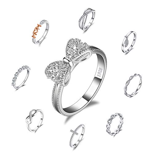 JewelryPalace Bow Cubic Zirconia Anniversary Wedding Ring 925 Sterling Silver Size 6 ()
