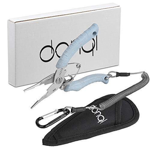 DONQL Stainless Steel Multifunctional Fishing Pliers Hook Remover Line Cutter Fishing Tackle Comfortable Grip Split Ring Pliers (Light Blue)