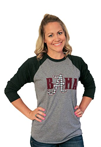 Tough Little Lady Womens NCAA University of Alabama Shirt with Bama Graphic Print on Raglan Sleeve Tshirt by Blk/Grey RAG (Medium, Blk/Grey)