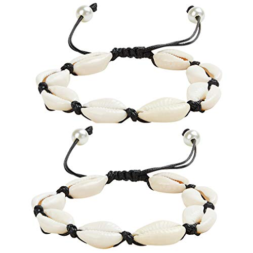 (ZHQI Nature Shell Pearl Anklet Bracelet Adjustable Boho Beach Rope Handmade Foot Jewelry for Women Girls 2Pcs (Black Rope Anklet)