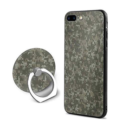 (Camouflage iPhone 7 Plus/iPhone 8 Plus Cases,Monochrome Attire Pattern Concealing Hiding in The Woods Themed Print Army Green Sage Green,Mobile Phone Shell Ring Bracket)