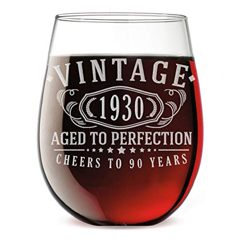 Vintage 1930 Etched 17oz Stemless Wine Glass - 90th Birthday Aged to Perfection - 90 years old gifts