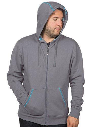 JINX Minecraft Men's Diamond Premium Zip-up Hoodie (Grey,
