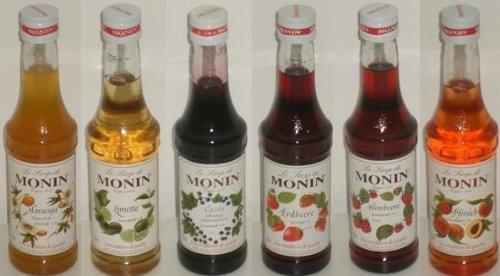 Monin fruchtige Vielfalt 6x0,25 Liter, ein Set besteht aus Maracuja, Limette, Cassis, Erdbeere, Himbeere, Pfirsich