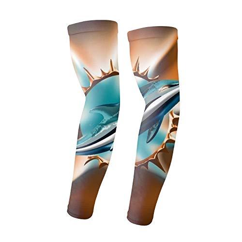 (1 Pair Compression Arm Sleeves for Basketball Football Baseball - Miami)