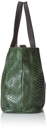 Bolsos de marca comunitaria Mujeres Bolso, Cartera de libros con estampado pitón, 30x24x13cm, 100% cuero auténtico Made in Italy Verde