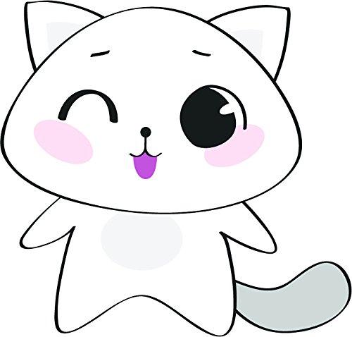 Cute Kawaii Kitty Cat Cartoon Vinyl Sticker (All Sizes, Winking Cat)