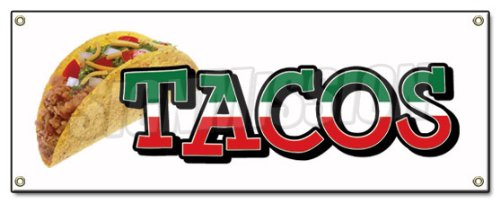 TACOS BANNER SIGN taco stand cart mexican signs by SignMission