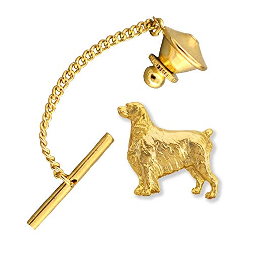 (Creative Pewter Designs Springer Spaniel Dog 22k Gold Plated Tie Tack, Tie Pin, Jewelry, DG472TT )