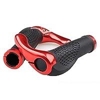 Winkeyes® バイク 自転車グリップ ハンドルバー ハンドルグリップ 牛角 グリップ 黒/赤 シティーバイク ロードバイク マウンテン バイク 軽量 快適