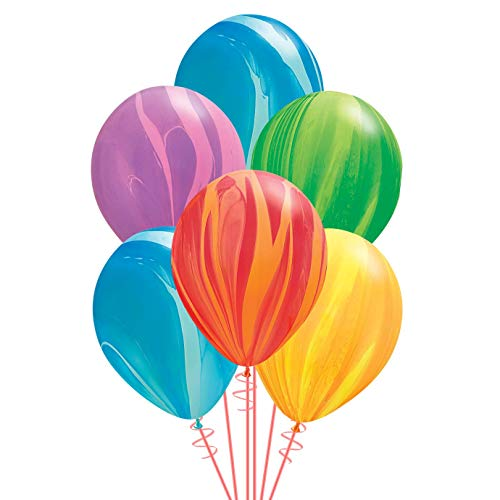 Qualatex Rainbow SuperAgate Assortment Biodegradable Latex Balloons, 11-Inches (10-Units)