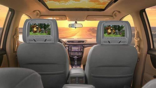 Pair Rockville RHP7-GR 7 Grey Plug N Play Car Headrest Monitors w/Speakers+IR