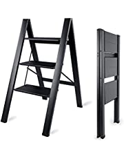 MAYQMAY 3-Tier Stepladder Lightweight Aluminum Folding Steps 330 lbs Capacity with Anti-Slip Wide Pedal for Household, Office, Garage, Garden, Painting,17.9''W×26.6''D×31.9''H, Black