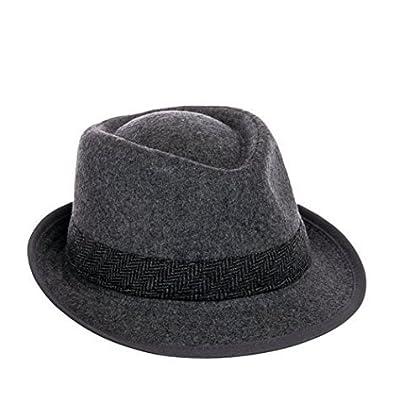 Dorfman Pacific Mens Wool Herringbone Band Classic Fedora Hat (Grey ba2ae706037e