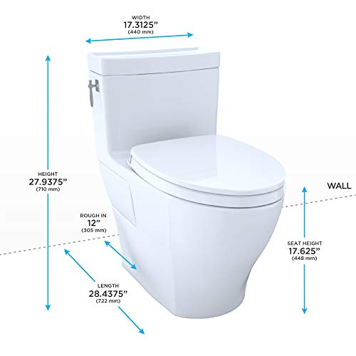 TOTO MS626124CEF#51 Aimes WASHLET Elongated 1.28 GPF Universal Height Skirted, Ebony-MS626124CEF One-Piece Toilet Ebony