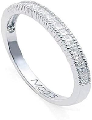 NICOLS 14710170011 - Anillo de Pedida Diamantes Media Alianza. Anillo que reúne catorce diamantes talla princesa. peso total 0.55ct.