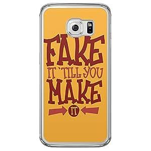 Loud Universe Samsung Galaxy S6 Edge Fake It 'Till You Make It Printed Transparent Edge Case - Yellow