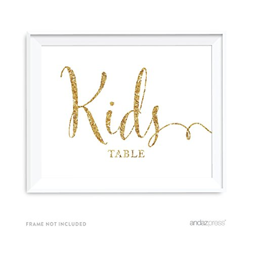 Andaz Press Wedding Party Signs, Gold Glitter Print, 8.5x11-inch, Kids Table Sign, 1-Pack, Not Real Glitter