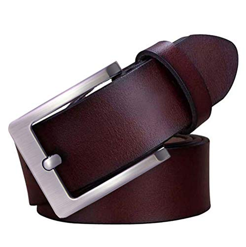 JingHao Casual Belts for Men Genuine Leather Belt for Jeans & Dress Coffee Belt Big and Tall Size (3XL 43