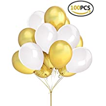 "Fecedy 100 pcs Gold White Latex Balloons 12"" for party"