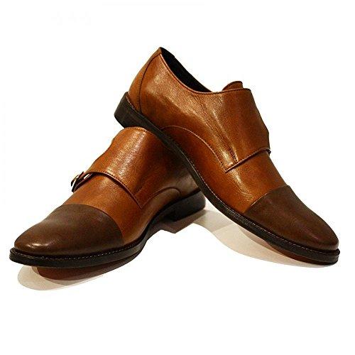 Modello Tito - Handgemachtes Italienisch Leder Herren Braun Mönch Schuhe Abendschuhe Oxfords - Rindsleder Weiches Leder - Schnalle